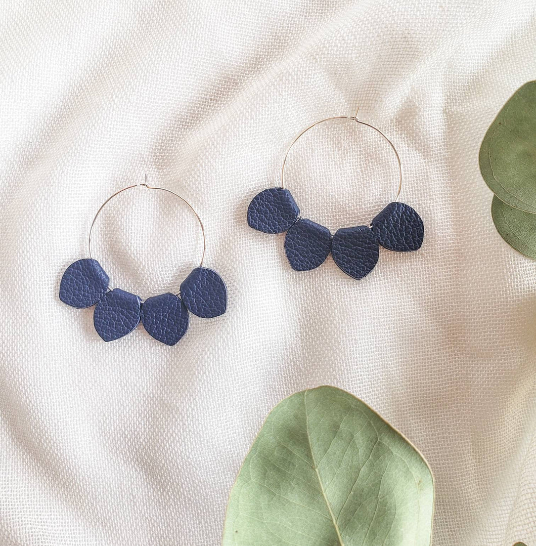 Navy Blue Leather Petal Hoop Earrings