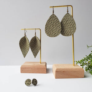 Olive Green Leather Teardrop Earrings