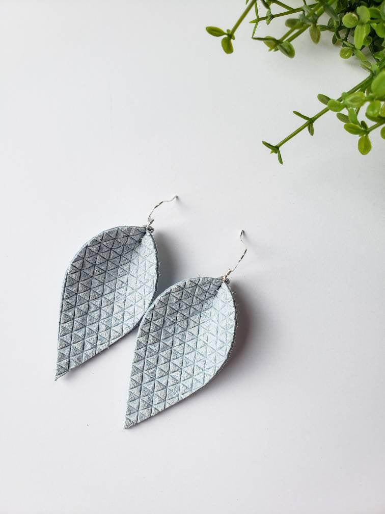 Light Blue Textured Suede Leather Leaf Earrings