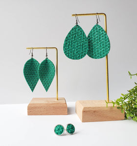 Vibrant Green Textured Suede Leather Leaf Earrings
