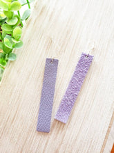 Load image into Gallery viewer, Lavender Purple Leather Bar Earrings