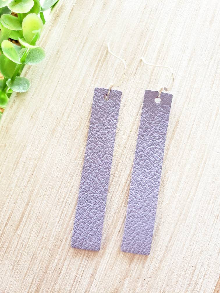 Lavender Purple Leather Bar Earrings