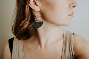 Large Black Leather Half Moon & Brass Triangle Dangle Earrings