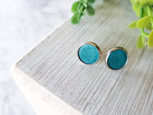 Load image into Gallery viewer, Turquoise Blue Leather Stud Earrings