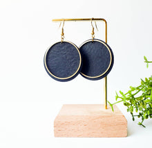 Load image into Gallery viewer, Black Leather Disc & Brass Circle Earrings
