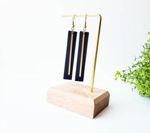 Black Leather Rectangular Bar Earrings with a Brass Bar Accent