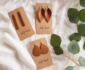 London Tan Leather Teardrop Earrings