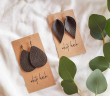 Load image into Gallery viewer, Distressed Green Leather Leaf Earrings