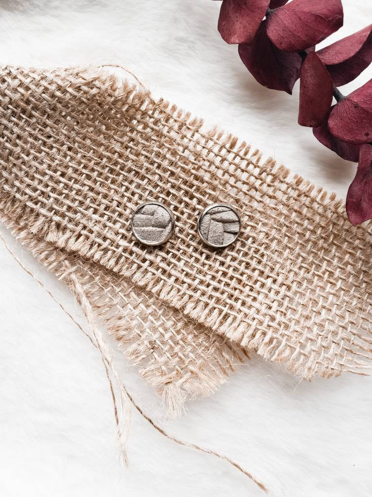 Stone Grey Suede Leather Stud Earrings