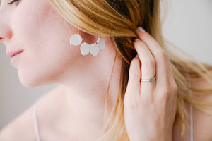 White Leather Petal Hoop Earrings
