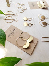 Load image into Gallery viewer, Brass Half Moon Circle Statement Earrings