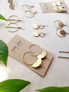 Brass Half Moon Circle Statement Earrings