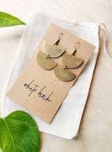 Load image into Gallery viewer, Brass Double Half Moon Earrings