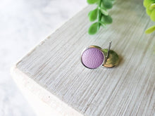 Load image into Gallery viewer, Amethyst Leather Stud Earrings