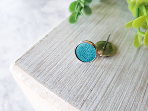 Turquoise Blue Leather Stud Earrings