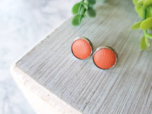 Load image into Gallery viewer, Orange Leather Stud Earrings