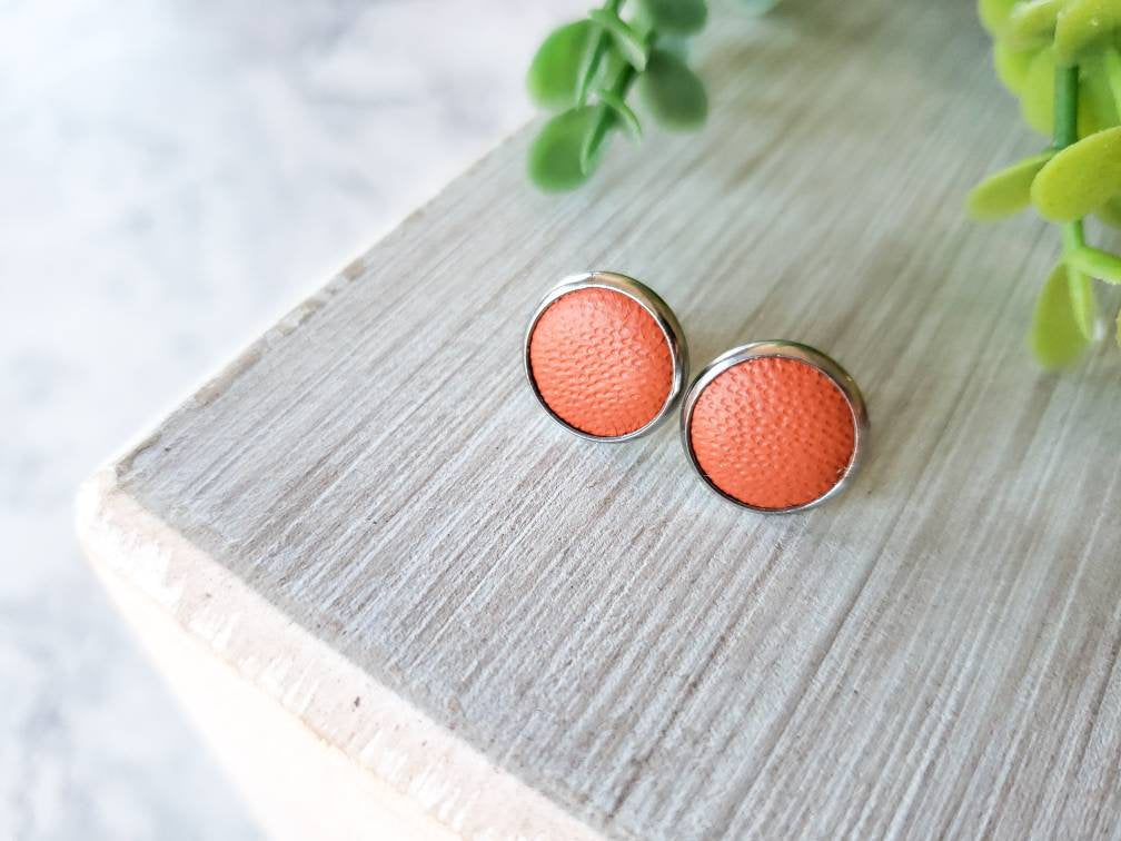 Orange Leather Stud Earrings