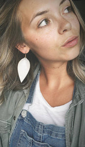 White Leather Leaf Earrings