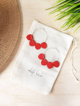 Load image into Gallery viewer, Red Leather Petal Hoop Earrings
