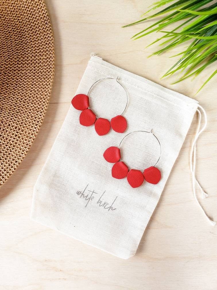 Red Leather Petal Hoop Earrings