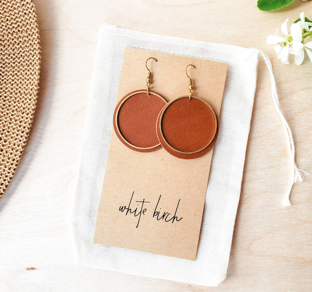 Brown Leather Disc & Brass Circle Earrings