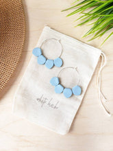 Load image into Gallery viewer, Light Blue Leather Petal Hoop Earrings
