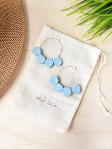 Light Blue Leather Petal Hoop Earrings