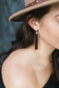 Distressed Cherry Brown Leather Bar Earrings