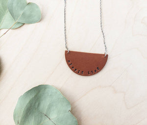 Hippie Life Hand Stamped Leather Necklace
