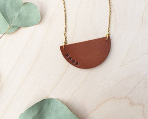 Mama Stamped Leather Necklace