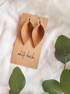 London Tan Leather Leaf Earrings