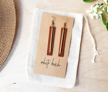 Load image into Gallery viewer, Brown Rectangular Bar Leather Earrings with Thin Brass Bar Accent