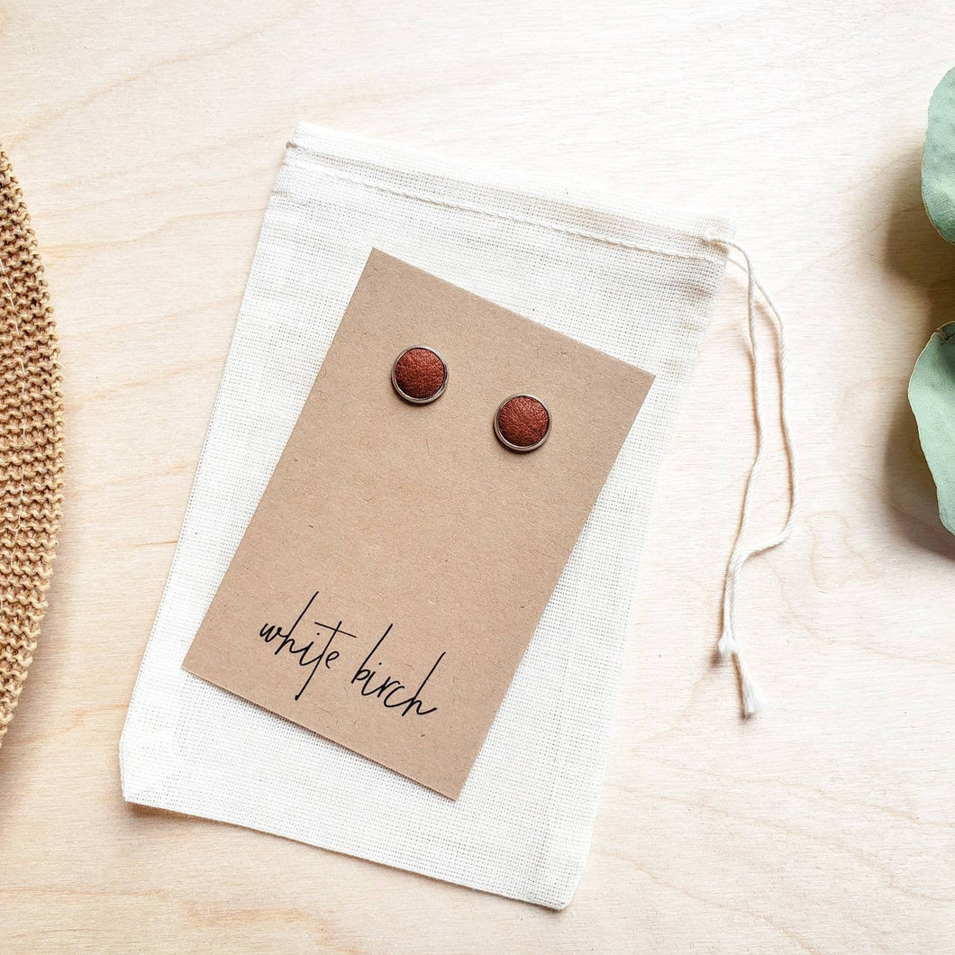 Distressed Red Brown Leather Stud Earrings