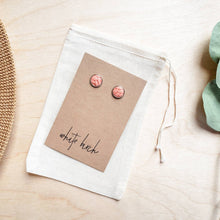Load image into Gallery viewer, Peach Leather Stud Earrings