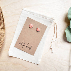 Peach Leather Stud Earrings