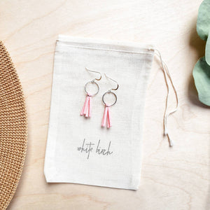 Mini Blush Pink Tassel Earrings with Sterling Silver Hooks and Accents