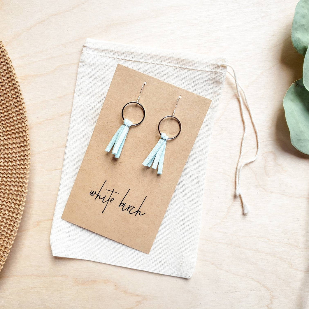 Mini Mint Blue Tassel Earrings with Silver Hooks and Accents