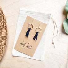 Load image into Gallery viewer, Mini Navy Blue Tassel Earrings with Sterling Silver Hooks and Accents