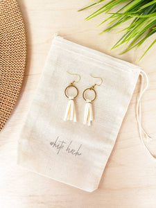 Mini Cream Tassel Earrings with Brass Hooks and Circle