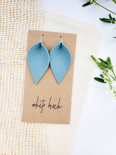 Load image into Gallery viewer, Peacock Blue Leather Leaf Earrings