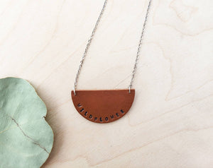 Wildflower Hand Stamped Leather Necklace