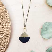 Load image into Gallery viewer, Geometric Brass Circle Black Half Moon Leather Necklace