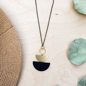 Geometric Brass Circle Black Stacked Half Moon Leather Necklace