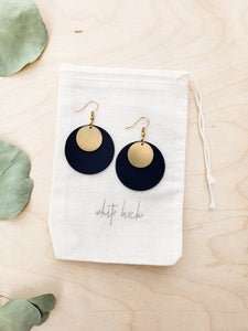 Large Round Disc Black Leather & Brass Disc Dangle Earrings