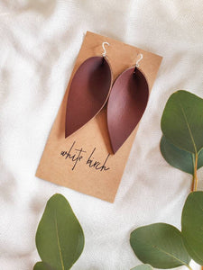 Red Brown Leather Leaf Earrings