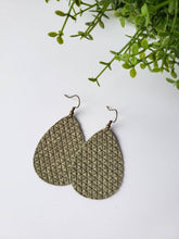Load image into Gallery viewer, Olive Green Leather Teardrop Earrings