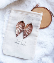 Load image into Gallery viewer, Rose Gold Metallic Braided Leather Leaf Earrings