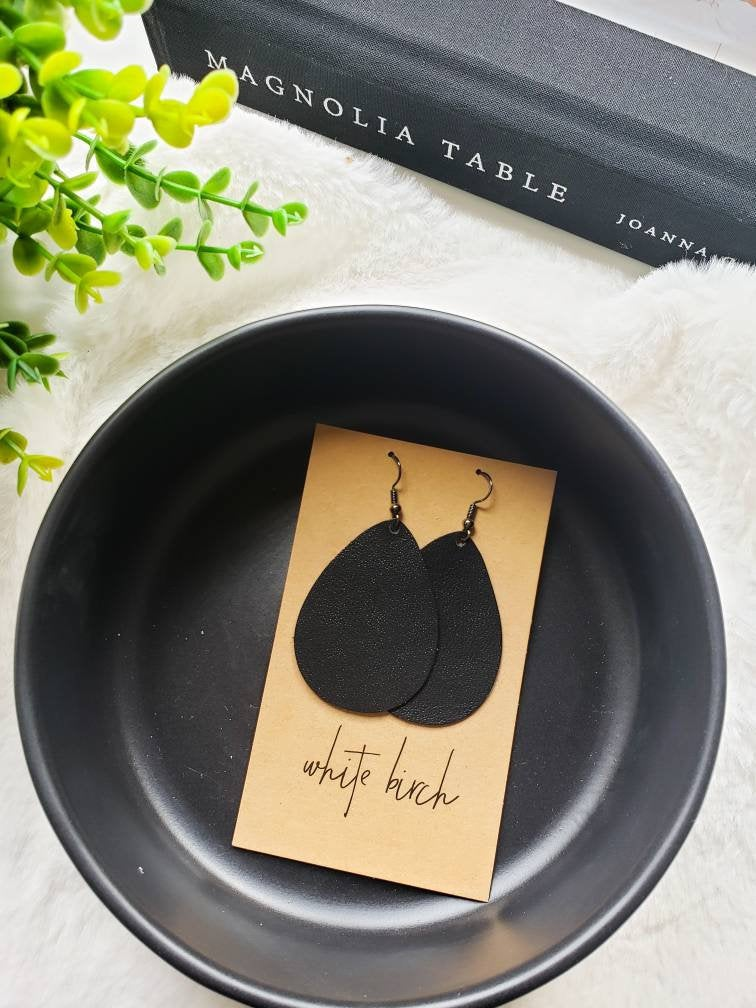 Smooth Black Leather Teardrop Earrings