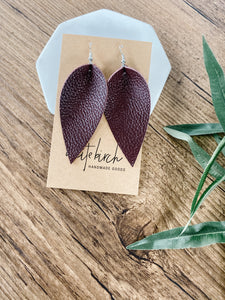 SALE Plum Large Leaf Earrings