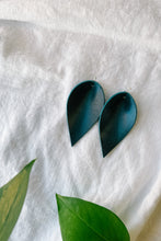 Load image into Gallery viewer, SALE - Dark Teal Small Leaf Earrings
